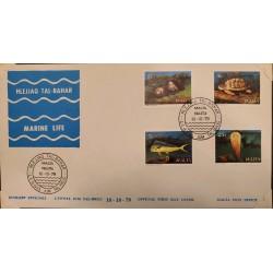 A) 1979, MALTA, TURTLES, FDC, MARINE FAUNA, FISH, GIBBULA NIVOSA, NACRA