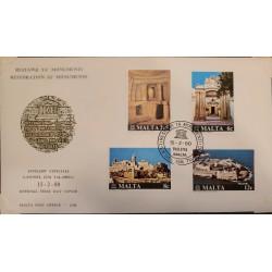 A) 1980, MALTA, BUILDINGS, FDC, PRESERVATION OF ARCHEOLOGY, TROGLODIPTIC ROOM, VILHENA PALACE,