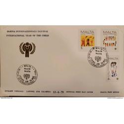 A) 1979, MALTA, CHILDHOOD, FDC, INTERNATIONAL CHILDREN'S DAY