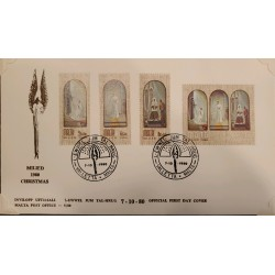 A) 1980, MALTA, CHRISTMAS, FDC, THE ANNUNCIATION, THE CONCEPTION, THE TRIPTYCH SEALS