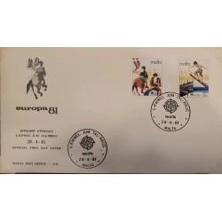 A) 1981, MALTA, HORSES, FDC, HORSE RACE, BALANCE ON PALO GRASIENTO