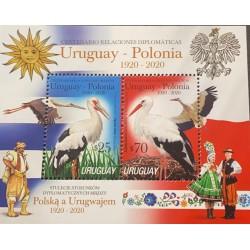 A) 2020, URUGUAY POLONIA, STORM BIRD, MNH, TRADITIONAL COSTUMES, XF, DIPLOMATIC RELATIONS, SOUVENIR SHEET