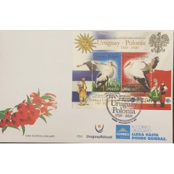 A) 2020, URUGUAY POLONIA, STORM BIRD, FDC, DIPLOMATIC RELATIONS