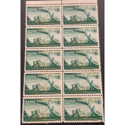 J) 1978 CANAL ZONE, TOWING LOCOMOTIVE, SHIP IN LOCK, BLOCK OF 10, MNH