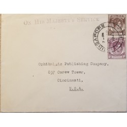 A) 1921, MALAYA, FROM SINGAPURE TO CINCINNATI-UNITED STATES, KING GEORGE VI STAMP