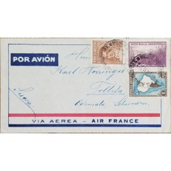 A) 1935, ARGENTINA, NATIONAL RICHES, FROM BUENOS AIRES TO SWEDEN, AIR FRANCE, 45 RARE DESTINATION