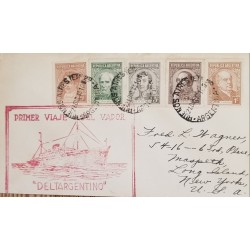 A) 1940, ARGENTINA, FROM BUENOS AIRES TO NEW YORK-UNITED STATES, FIRST VAPOR JOURNEY DELTARGENTINO, CHARACTERS STAMPS