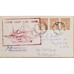 A) 1940, ARGENTINA, FROM BUENOS AIRES TO NEW YORK-UNITED STATES, FIRST VAPOR JOURNEY DELTARGENTINO, MARIANO MORENO STAMP