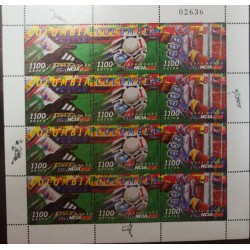 A) 1998, COLOMBIA, SOCCER, MNH, FRANCE 98, WORLD CHAMPIONSHIP, AIRMAIL, 4 PAIRS OF 3