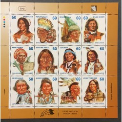 A) 1999, MARSHALL ISLANDS, GREAT AMERICAN INDIAN CHIEFS, MINISHEET, CONMMEMORATIVE