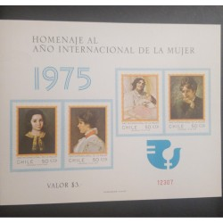 A) 1975, CHILE, WOMAN, SOUVENIR SHEET, TRIBUTE INTERNATIONAL YEAR, PICTURES
