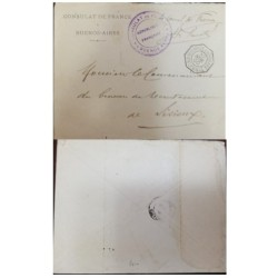 A) 1900, ARGENTINA, CONSULATE OF FRANCE, POSTAGE ENVELOPE, FROM BUENOS AIRES TO LISIEUX
