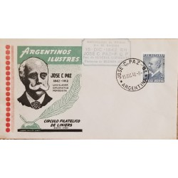 A) 1942, ARGENTINA, LEGISLATOR, DIPLOMATIC AND JOURNALIST, JOSE C PAZ, FDC POSTMARK
