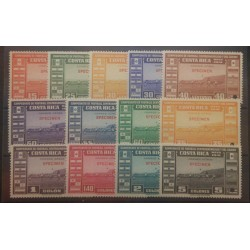 A) 1941, COSTA RICA, SOCCER SHAMPIONSHIP, SPECIMEN PUNCH PROOFS SET AMERICANM BANK NOTE, SET OF 13