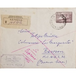 A) 1936, ARGENTINA, FROM LA BANDA TO BUENOS AIRES, EXPRESS, DIQUE EL NIHUIL STAMP