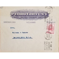 A) 1948, ARGENTINA, FROM ROSARIO TO DITROIT-UNITED STATES, SLOGAN CANCELATION