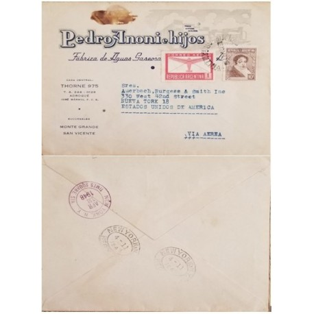 A) 1948, ARGENTINA, FROM BUENOS AIRES TO NEW YORK-UNITED STATES, AIRMAIL, AVIATION AND BERNARDINO RIVADAVIA STAMPS