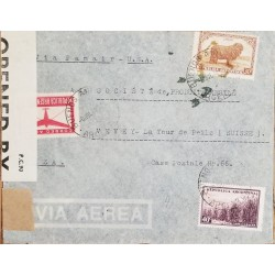 A) 1942, ARGENTINA, FROM BUENOS AIRES TO SWITZERLAND, VIA PANAIR-U.S.A, AIRMAIL, SUGAR CANE, AVIATION AND WOOL STAMPS