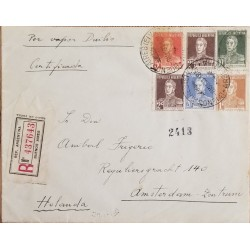 A) 1933, ARGENTINA, RARE DESTINATION, CERTIFICED, FROM BUENOS AIRES TO AMSTERDAM NETHERLANDS, GRAL JOSE DE SAN MARTIN STAMPS