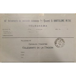 A) 1901, ARGENTINA, TELEGRAM, 80 ANNIVERSARY OF THE EMINENT CITIZEN TTE GRAL BARTOLOME MITRE, BUENOS AIRES