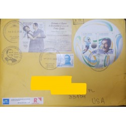 A) 2020, URUGUAY, FDC, CIRCULATED COVER, CARLOS GARDEL AND SOCCER