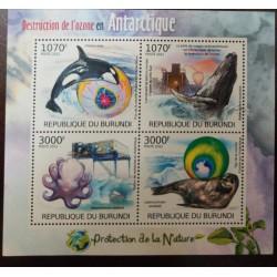 A) 2012, BURUNDI, MARINE FAUNA, SOUVENIR SHEET, DESTRUCTION OF THE OZONE LAYER ON THE ANTARCTIC
