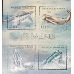 A) 2012, BURUNDI, WHALES, MNH, BLOCK OF 4