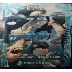 A) 2012, BURUNDI, ORCA KILLER WHALE, SHARK, PERFORATED, SOUVENIR SHEET OF 4 STAMPS, MNH