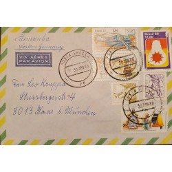 A) 1980, BRAZIL, FROM PORTA GROSSA TO GERMANY, AIRMAIL, DEPARTMENT OF POST AND TELEGRAPHS