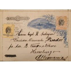 A) 1898, BRAZIL, POSTAL STATIONARY, FROM BAHIA TO GERMANY, LIBERTY STAMPS