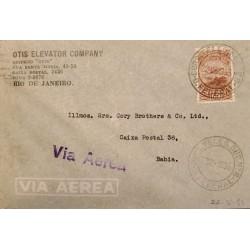 A) 1935, BRAZIL, FROM RIO DE JANEIRO TO BAHIA, AIRMAIL, RIBEIRO DE BARRAS STAMP
