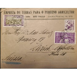 A) 1927, BRAZIL, FROM SAO PAULO TO SWITZERLAND, PERNAMBUCO FOUNDATION, FAITH AND ENERGY AND COLONIZATION OF BRAZIL STAMPS