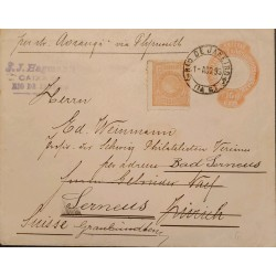 A) 1893, BRAZIL, POSTAL STATIONARY, FROM RIO DE JANEIRO TO SWITZERLAND, LIBERTY STAMP