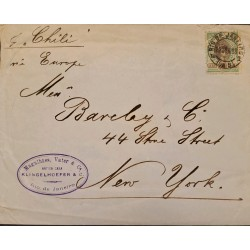 A) 1898, BRAZIL, PER STEAMER CHILI, FROM RIO DE JANEIRO TO NEW YORK-UNITED STATES, LIBERTY STAMP