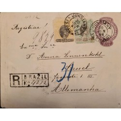 A) 1898, BRAZIL, POSTAL STATIONARY FROM SAO PAULO TO GERMANY, REGISTERED, LIBERTY STAMP