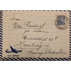 A) 1950, BRAZIL, FROM DOM PEDRO TO HAMBURG-GERMANY, AIRMAIL, IRON AND STEEL INDUSTRY STAMP
