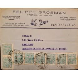 A) 1940, BRAZIL, OLAVO BILAC, FROM RIO DE JANEIRO TO NEW YORK-UNITED STATES, AVIATION STAMP