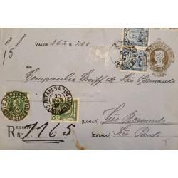 A) 1917, BRAZIL, POSTAL STATIONARY, FROM MINAS TO SAO BERNARDO-SAO PAULO,