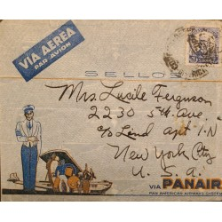 A) 1940, BRAZIL, PANAIR, FROM RIO DE JANEIRO TO NEW YORK-UNITED STATES, AIRMAIL, ROY BARBOSA STAMP