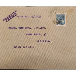 A) 1935, BRAZIL, PANAIR, FROM RIO DEJANEIRO TO BAHIA, AIRMAIL, COMMERCE STAMP