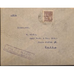 A) 1935, BRAZIL, PANAIR, FROM RIO DE JANEIRO TO BAHIA, AIRMAIL, CANCELLED, COMMERCE STAMP