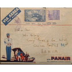 A) 1938, BRAZIL, PANAIR, FROM SAO PAULO TO BAHIA, AIRMAIL, COMMERCE STAMP