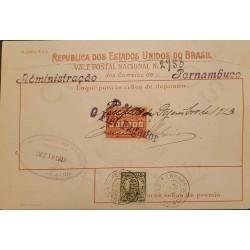 A) 1918, BRAZIL, NATIONAL POSTCARD, FROM PERNAMBUCO TO BAHIA, CANCELATION
