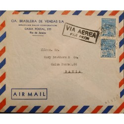 A) 1935, BRAZIL, FROM RIO DE JANEIRO TO BAHIA, AIRMAIL, COMMERCE STAMPS