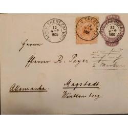 A) 1905, BRAZIL, POSTAL STATIONARY, FROM SAO PEDRO DO SUL, GERMANY, THEREZA, LIBERTY STAMP