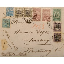 A) 1934, BRAZIL, METER STAMP, FROM SANTOS TO HAMBURG-GERMANY, AIRMAIL, REGISTERED
