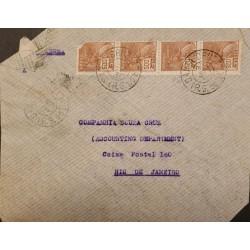 A) 1937, BRAZIL, FROM RIO GRANDE DO SUL TO RIO DE JANEIRO, AIRMAIL, COMMERCE STAMP
