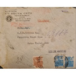 A) 1937, BRAZIL, FROM PERNAMBUCO TO RIO DE JANEIRO, AIRMAIL, COMMERCE STAMPS