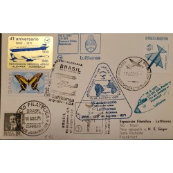A) 1971, BRAZIL, LUFTHANSA, AIRPORT, FROM RIO DE JANEIRO TO FRANKFURT- GERMANY, PHILATELIC EXPOSURE STAMPS