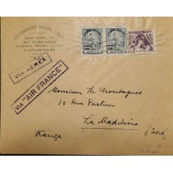 A) 1936, BRAZIL, AIR FRANCE, FROM MARANHAO TO LA MADELEINE-FRANCE, AIRMAIL, CANCELLED, FAITH AND ENERGY AND EDUCATION